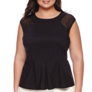 Worthington® Sleeveless Lace-Inset Peplum Top - Plus