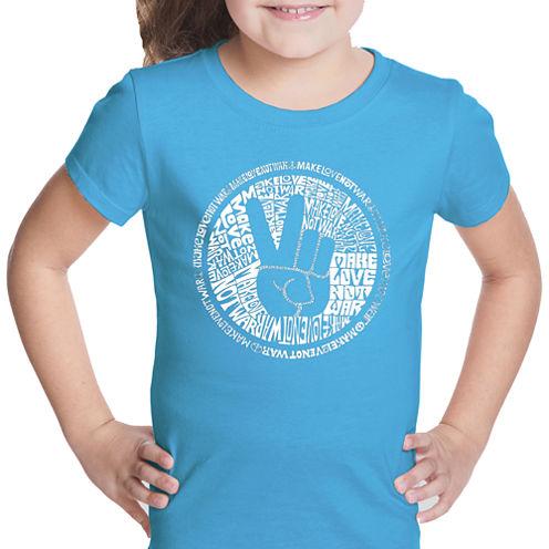 Los Angeles Pop Art Make Love Not War Short Sleeve Graphic T-Shirt Girls