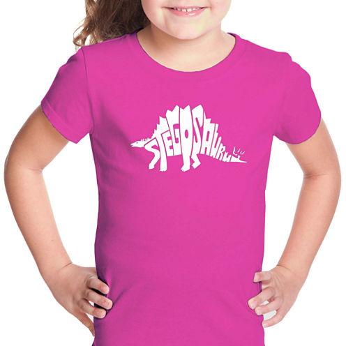 Los Angeles Pop Art Stegosaurus Short Sleeve Graphic T-Shirt Girls