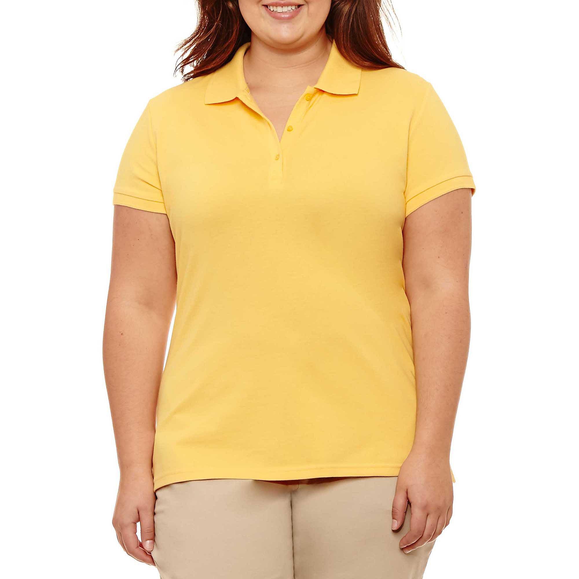 Arizona Short-Sleeve Polo Shirt - Juniors Plus plus size,  plus size fashion plus size appare