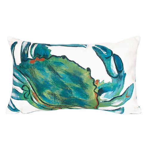 Liora Manne Visions Iii Blue Crab Rectangular Outdoor Pillow