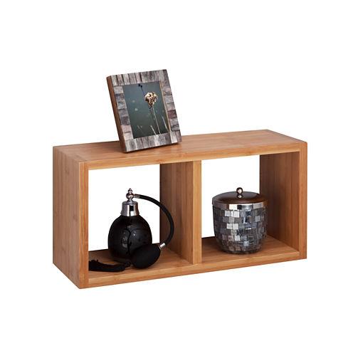 Honey-Can-Do Bamboo Double Cube Wall Shelf