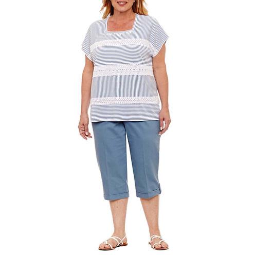 Alfred Dunner Blue Lagoon Short Sleeve Square Neck Stripe T-Shirt-Womens Plus