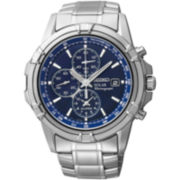 Seiko® Mens Silver-Tone Blue Dial Chronograph Watch