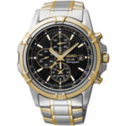 Seiko® Mens Two-Tone Brown Dial Chronograph Watch