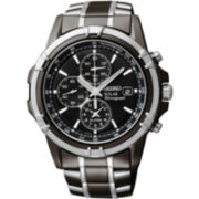Seiko® Mens Black Chronograph Watch
