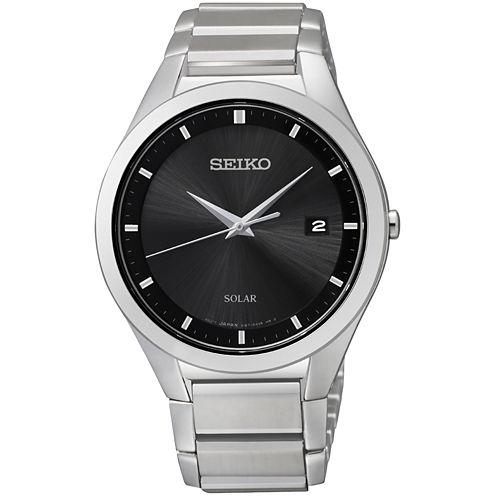 Seiko® Mens Silver-Tone Diamond-Accent Watch SNE241