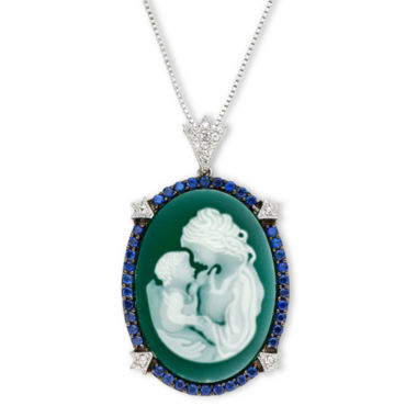 jcpenney.com | Green Agate & Lab-Created Sapphire Oval Family Cameo Pendant