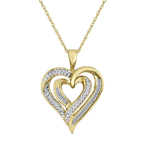 1/5 CT. T.W. Diamond 10K Yellow Gold Double-Heart Pendant Necklace