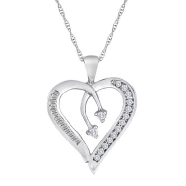 jcpenney.com | 1/5 CT. T.W. Diamond 10K White Gold Heart & Arrow Pendant Necklace