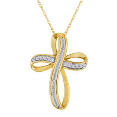 jcpenney.com | 1/5 CT. T.W. Diamond 10K Yellow Gold Cross Pendant Necklace
