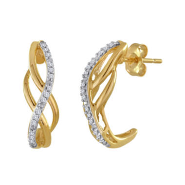 jcpenney.com | 1/10 CT. T.W. Diamond 10K Yellow Gold Swirl Earrings