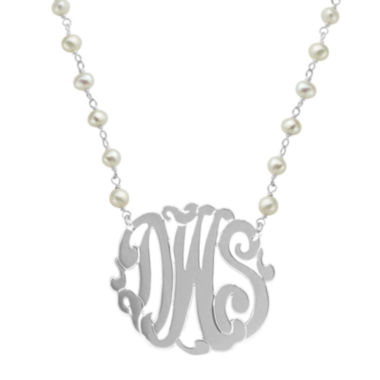 jcpenney.com | Personalized Sterling Silver 32mm Cultured Freshwater Pearl Chain Monogram Necklace