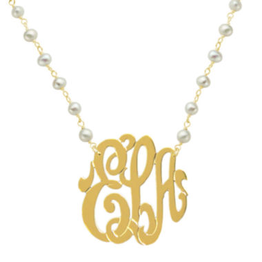 jcpenney.com | Personalized 22K Gold Over Silver 32mm Monogram Necklace