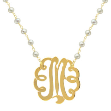 jcpenney.com | Personalized 22K Gold-Plated Sterling Silver 32mm Initial Necklace