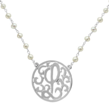 jcpenney.com | Personalized Lacy Sterling Silver 32mm Initial Medallion Necklace