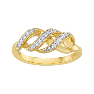 jcpenney.com | 1/10 CT. T.W. Diamond 14K Yellow Gold-Plated Sterling Silver Swirl Ring