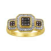 1/10 CT. T.W. White & Color-Enhanced Champagne Diamond Ring