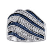 1/2 CT. T.W. White & Color-Enhanced Blue Diamond Wave Ring
