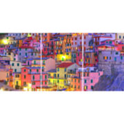 Set of 3 Colorful Town Panoramic Wall Decal