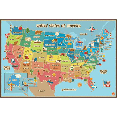 Kids USA Map Dry-Erase Wall Decal