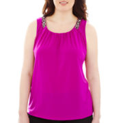 Worthington® Jeweled Drape-Neck Top - Plus