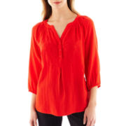St. John's Bay® 3/4-Sleeve Embroidered Peasant Top