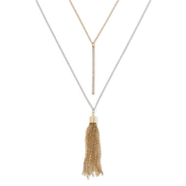 jcpenney.com | Decree® Crystal Bar and Chain Tassel 2-pc. Layered Two-Tone Pendant Necklace Set