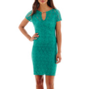 Bisou Bisou® Short-Sleeve Lace Hardware Sheath Dress
