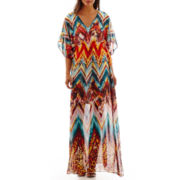 Bisou Bisou® Printed Tie-Waist Caftan Dress