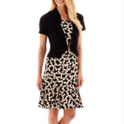 Danny & Nicole® Dot Print Dress with Flounce Jacket