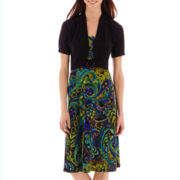 R&K Originals® Short-Sleeve Paisley Print Jacket Dress Set