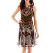 Danny & Nicole® Sleeveless Paisley Print Trapeze Dress