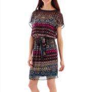 Danny & Nicole® Kimono-Sleeve Printed Blouson Dress