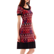 RN Studio by Ronni Nicole Short-Sleeve Print Sheath Dress
