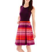 Danny & Nicole® Sleeveless Chevron Print Fit-and-Flare Dress