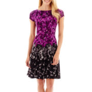 Danny & Nicole® Short-Sleeve Floral Print Fit-and-Flare Dress