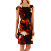 R&K Originals® Cap-Sleeve Floral Print Shift Dress