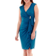 J. Taylor Sleeveless Ruffled Faux-Wrap Dress with Pin