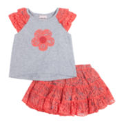 Little Lass Ruffle Top and Skort Set - Toddler Girls 2t-4t