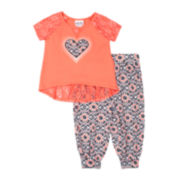Little Lass Lace-Back Tee and Jogger Pants - Toddler Girls 2t-4t
