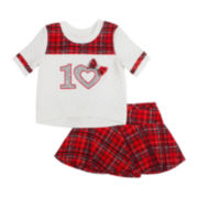 Little Lass Bow Tee and Skort Set - Toddler Girls 2t-4t