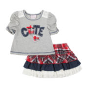 Little Lass Tee and Tiered Skort Set - Toddler Girls 2t-4t