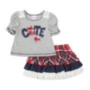 Little Lass Tee and Tiered Skort Set - Toddler Girls 2t-4t