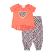Little Lass Lace-Back Tee and Jogger Pants - Preschool Girls 4-6x