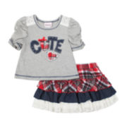 Little Lass Tee and Tiered Skort Set - Preschool Girls 4-6x