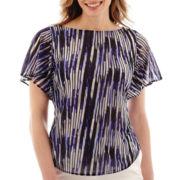 Liz Claiborne® Flutter-Sleeve Mesh Print Top