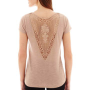 i jeans by Buffalo Short-Sleeve Crochet-Back Top