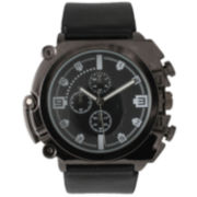Olivia Pratt Mens Gunmetal Dial Black Faux Leather Watch  2193Ggunmetal