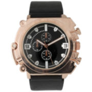 Olivia Pratt Mens Rose Gold Dial Black Faux Leather Watch  2193Grosegold